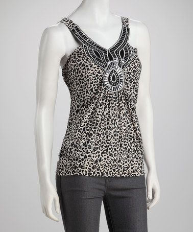 Take a look at this Black & Taupe Animal Tank by Simply Irresistible on #zulily today!
