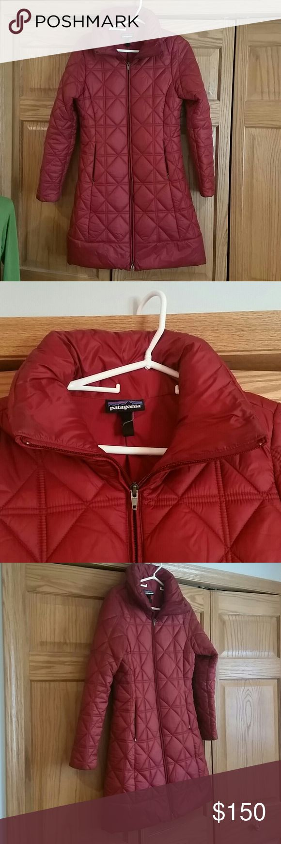 Red Patagonia Parka size Small Amazing darker red parka by Patagonia. The tag has been cut off but I am very sure it is a Women's Small. The quilted pattern is great, and gives it a nice flair. All zippers work, has a cool pocket for things on the inside chest of the coat, too. 2 outside zippers for hands or a phone, too. No rips or flaws other than a little wear on the collar from gentle use. I would be willing to trade this gem for a Medium sized Patagonia parka or a Nano Puff. :)…