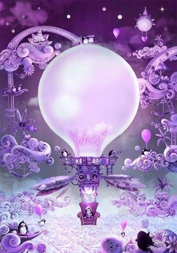 karmic illustration- I Love the playful nature of this piece with the use of the violet blue color scheme it works well to keep with the fairy tale like illustration.