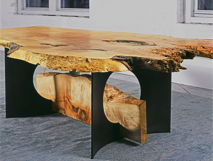 This Impressive Dining Table Made From A Wide Slab Of Spalted Maple Can Easily Accommodate Party Up To Supported By Curved Black Steel Legs With Long