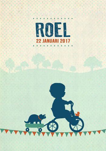 Geboortekaartje Roel - Pimpelpluis - https://www.facebook.com/pages/Pimpelpluis/188675421305550?ref=hl (# jongen - fiets - dino - dinosaurus - karretje -  vlagjes - eendje - boom - bomen - vrolijk  - driewieler - retro - vintage - silhouet - lief - origineel)
