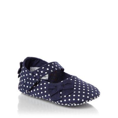 Designer girl's navy spotted booties