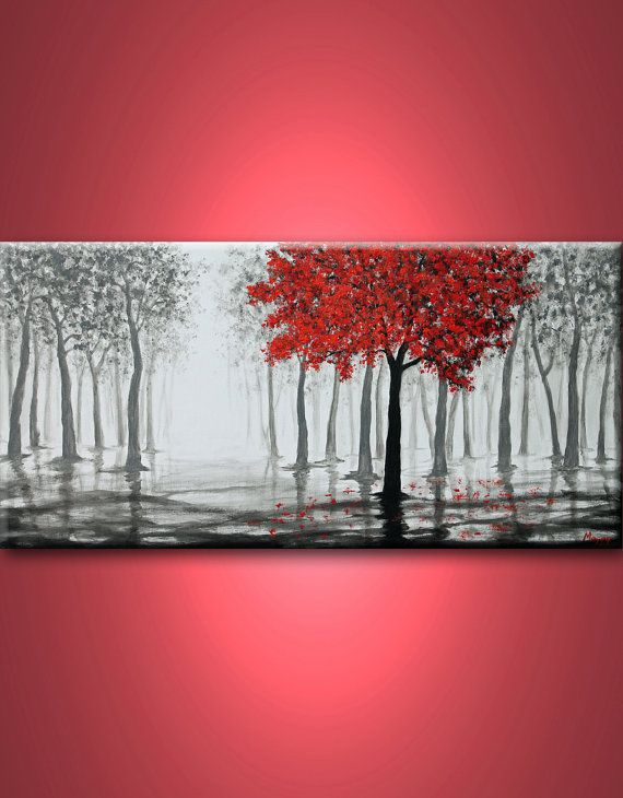 Red tree, rain,misty forest,black white and red,large ...