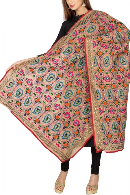 Ecru & Red Art Chanderi Phulkari Dupatta