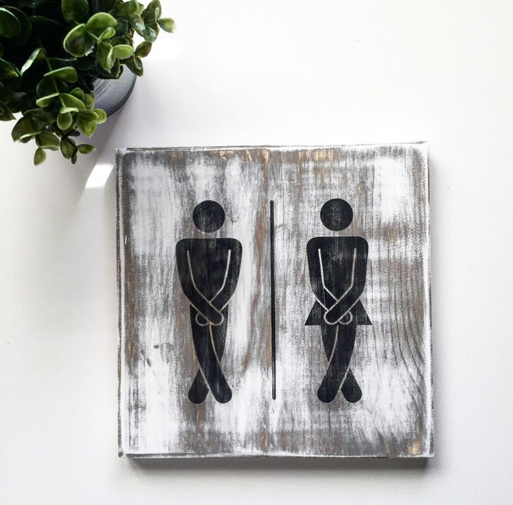A personal favorite from my Etsy shop https://www.etsy.com/listing/448943284/rustic-sign-his-and-hers-bathroom-sign