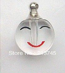 Freeshipping! Хороший Улыбающееся лицо духи кулон флакон ожерелье кулон небольшой мини риса стеклянная бутылка кулон Винтовая крышка
