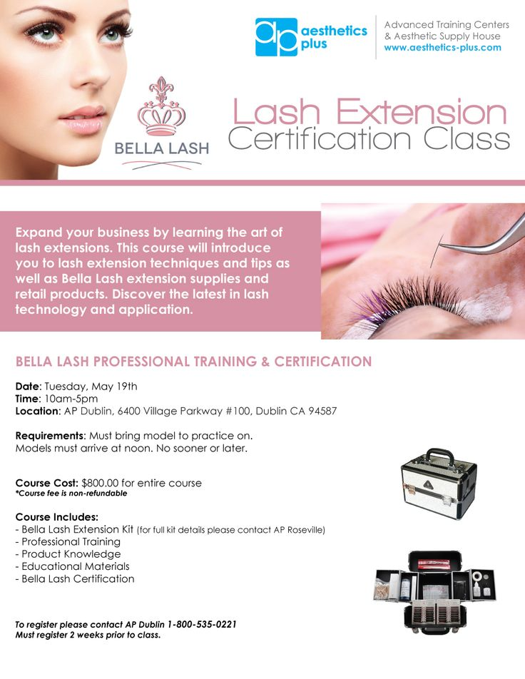 Sign up for our Bella Lash Extension & Certification Class coming up on May 19th at AP Dublin! To register please contact AP Dublin 1-800-535-022. Must register 2 weeks prior to class.