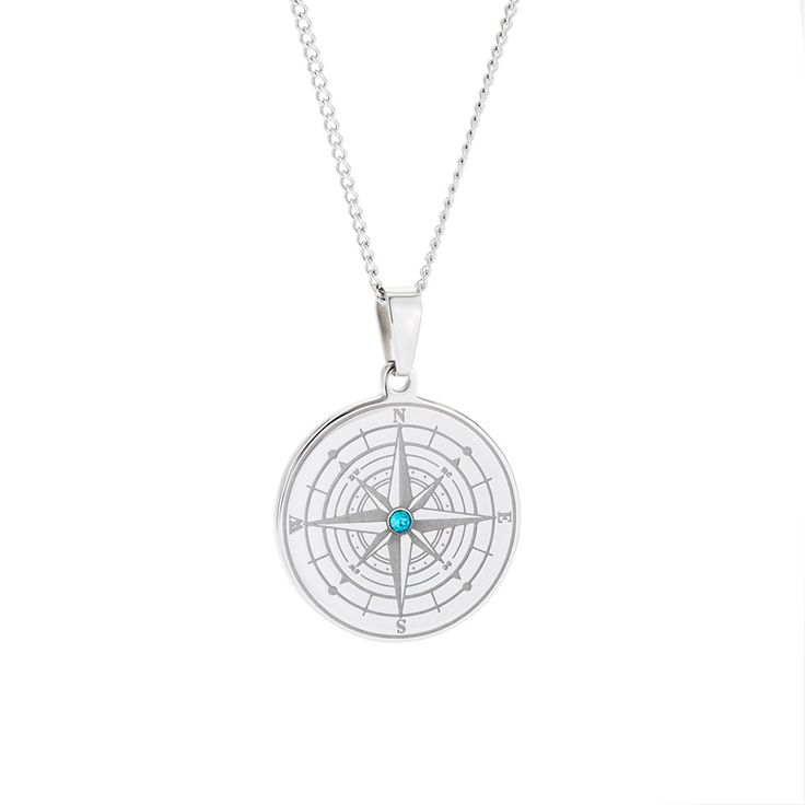 Birthstone Compass Necklace! This compass charm can be customized with a birthstone in the center and an engraving on the back.