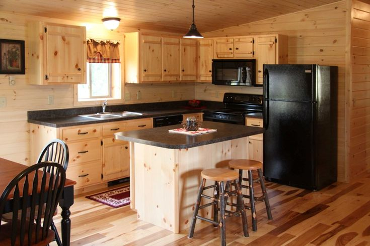 Modern Kitchen with Unfinished Pine Cabintes
