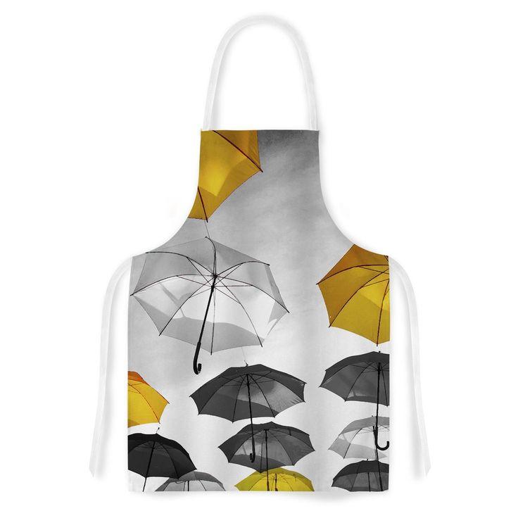 Kess InHouse 888 Design Umbrellas Orange Black Artistic Apron