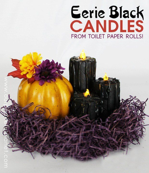 TP Roll Black Candles Halloween Decor
