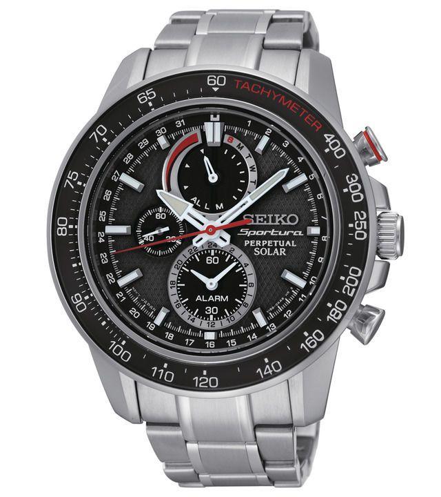 Seiko Sportura SSC357 Mens Solar Perpetual Calendar Alarm Chronograph Watch