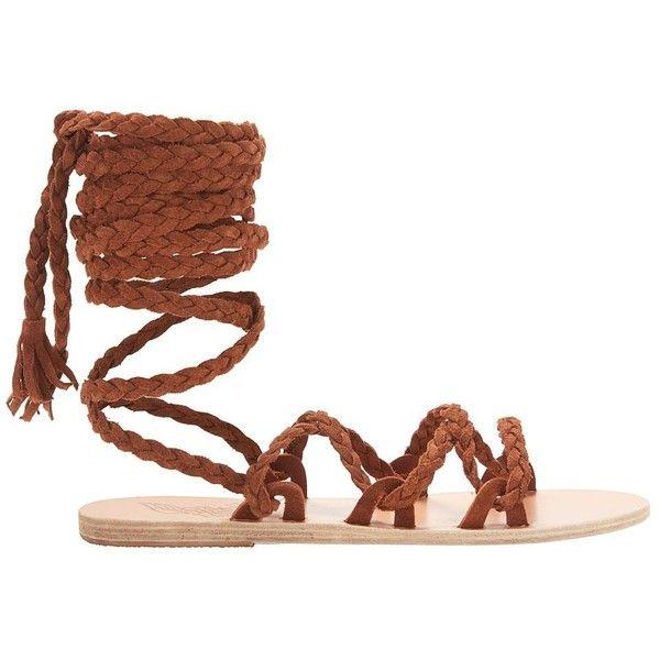 Ancient Greek Sandals Kariatida Knee High Gladiator Flat Sandals (830 CAD) ❤ liked on Polyvore featuring shoes, sandals, brown, leather sandals, leather strap sandals, brown strappy sandals, brown sandals and brown braided sandals