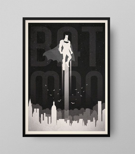 Cartel Batman Ilustración Cuadro Decoración por GraphicHomeDesign