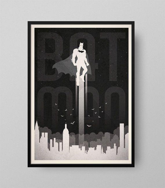 Cartel Batman Ilustración Cuadro Decoración por GraphicHomeDesign