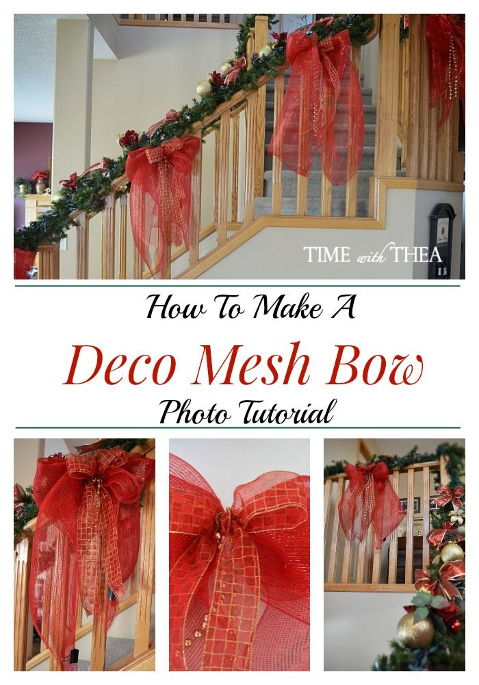 How To Make A Deco Mesh Bow Photo Tutorial ~ Step-by-step photo tutorial showing how to make a stunning large bow using deco mesh, coordinating wire edge ribbon and bead garland! Add this gorgeous bow to your bannister, wreath or any other DIY project for Christmas! / timewiththea.com