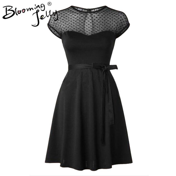 Heart Pattern Gauze Mesh Summer Dress Patchwork Swing Cocktail Bow Belt Women Little Black Dress 2016 Fashion Women Clothing New
