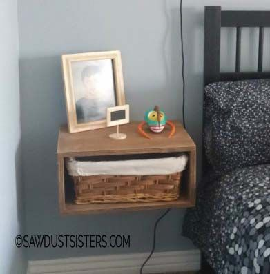 Floating side table made out of plywood. A stylish alternative to night stands. Step by step tutorial with photos. Easy project for beginner wood workers.