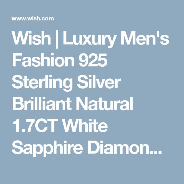 Wish | Luxury Men's Fashion 925 Sterling Silver Brilliant Natural 1.7CT White Sapphire Diamond CZ Wedding Band Ring Jewelry Size6 7 8 9 10 11 12