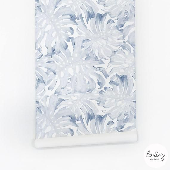 Blue Palm Leaf Removable Wallpaper Tropical Traditional Etsy Leaf Wallpaper Baby Girl Wallpaper Traditional Wallpaper