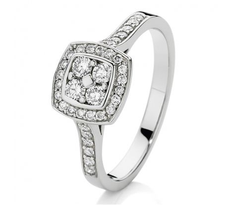 This stunning 9ct white gold diamond dress ring features 0.42ct TDW diamonds through an elegant square feature and along the upper arms of the ring. Certain to sparkle, this ring is a wonderful gift idea for someone special.