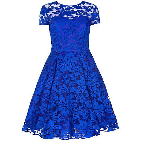 Buy Ted Baker Sheer Floral Overlay Dress, Bright Blue Online at johnlewis.com