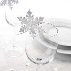 Silver Snowflake Place Card Sits on Glass Pack of 10 - Perfect for Decorating Christmas Dinner Tables or Winter Themed Weddings
