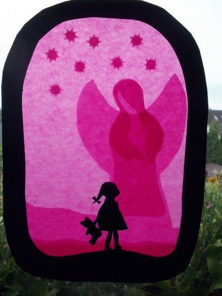 Kinderzimmerdekoration - Waldorf Transparentbild Schutzengel - ein Designerstück…