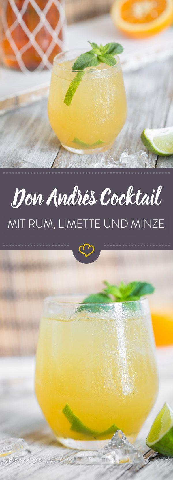 Hol dir die Karibik nach Hause und mix dir einen sommerlich frischen Cocktail mit dunklem Rum, frischem Limettensaft, Agavendicksaft und aromatischer Minze.