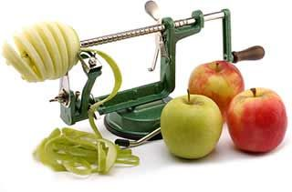 The Amazing Apple Slinky Machine. Love it - makes stewed apples and apple chips simple and super quick!