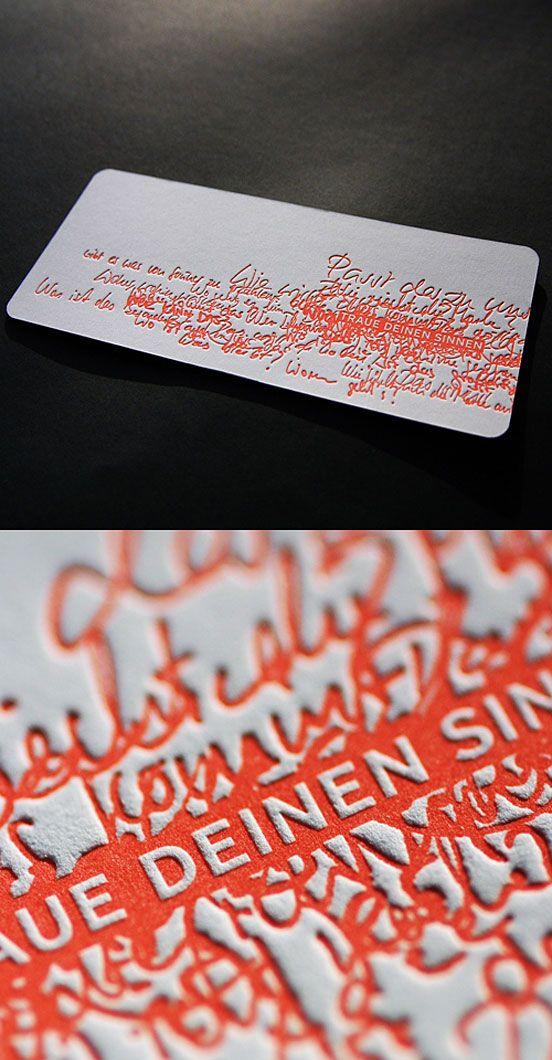 Unique Letterpress Design | #Business #Card #visitenkarte #creative #paper #businesscard #corporate #design repinned by www.BlickeDeeler.de | Follow us on www.facebook.com/BlickeDeeler