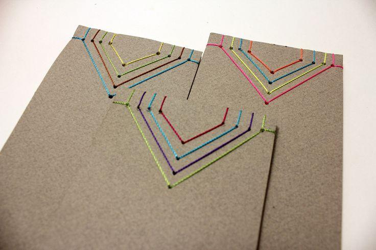 Geometrical pattern stab-binding notebooks