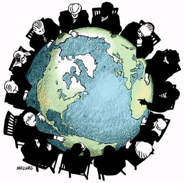 An image that demonstrates business men controlling the world because of globalisation