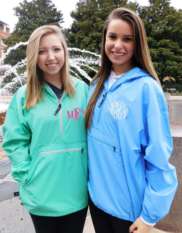 Looking for a cute look while staying dry from the rain? This Monogrammed Unlined Lightweight Rain Jacket is the PERFECT jacket for Spring and Summer!   This jacket is water and wind resistant and conventionally packs into its pouch pocket! It is made of 100% Softex Polyester. It is unlined & lightweight. Pullover design accented with black zippers (dyed-to-match on Pink & Columbia blue). Underarm grommets for ventilation & elasticized cuffs. Open hem with shockcord drawstring.