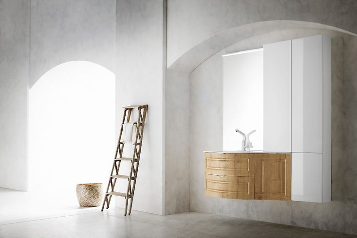 FINCH | FH 12 | Compab. Structure and doors: 807 Knotty Oak, Glossy White (901/JO),Top in Mineralmarble.
