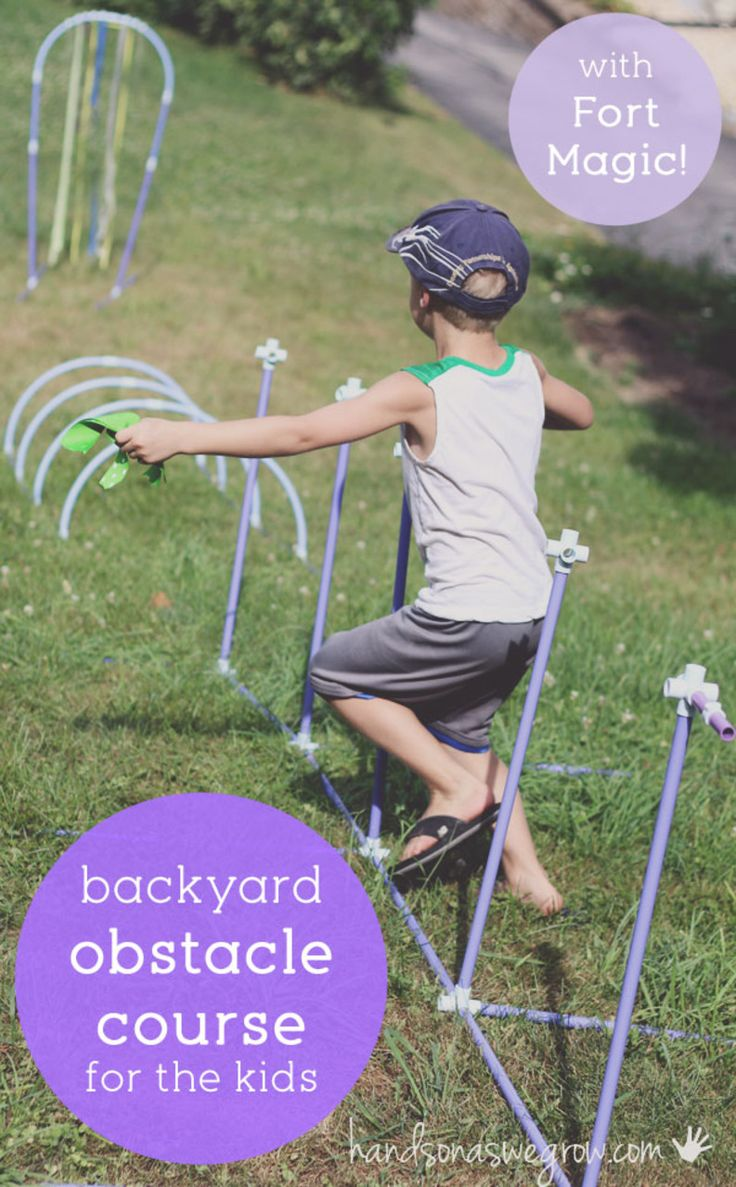 A backyard obstacle course for kids to get moving!