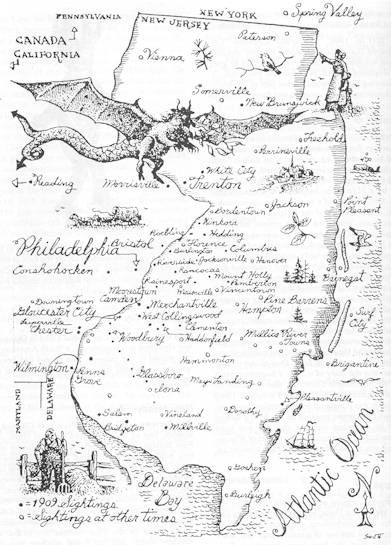 """According to the legend, Mrs. Jane Leeds came from a poor family who eked out an existence in the Pine Barrens of Jersey, a rugged place with vast forests, sandy soil and patches of swamp. In 1735, Mrs. Leeds discovered that she was pregnant with her 13th child. She complained to her friends and relatives that the """"Devil can take the next one"""", and he did."""