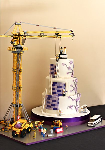 Lego wedding cake under construction!  something like this for the cake you think?! =P. this is the cutest idea I've seen yet.