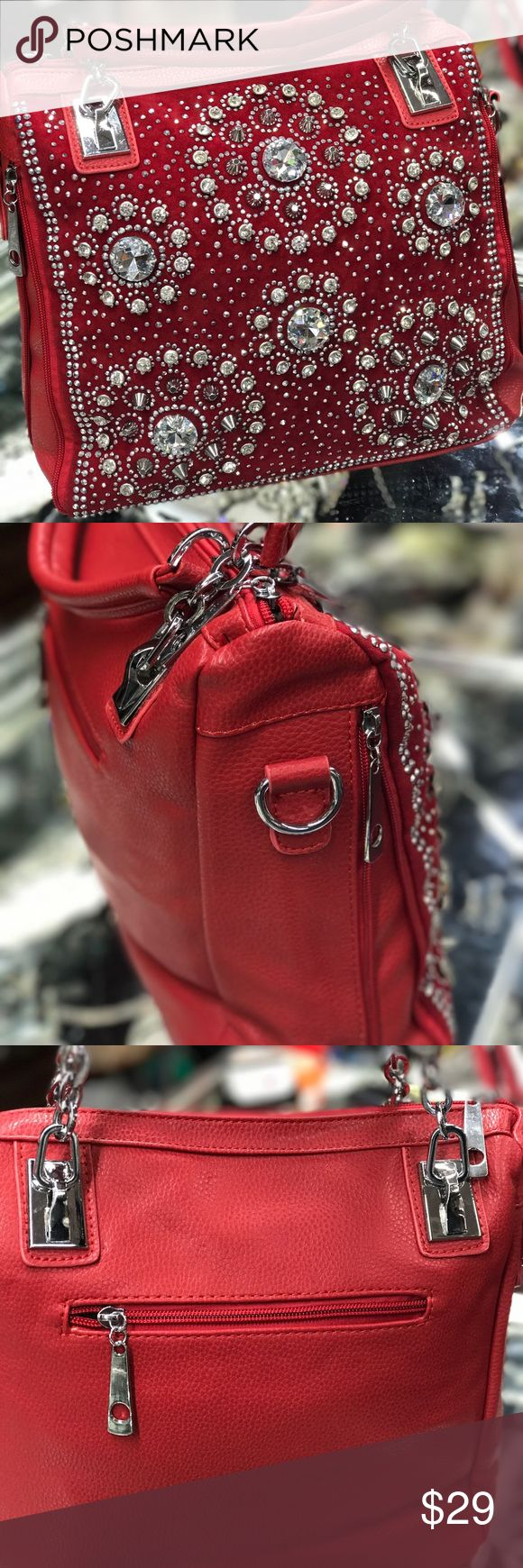 Red Rhinestone Purse Faux leather purse with clear rhinestones Bags Satchels