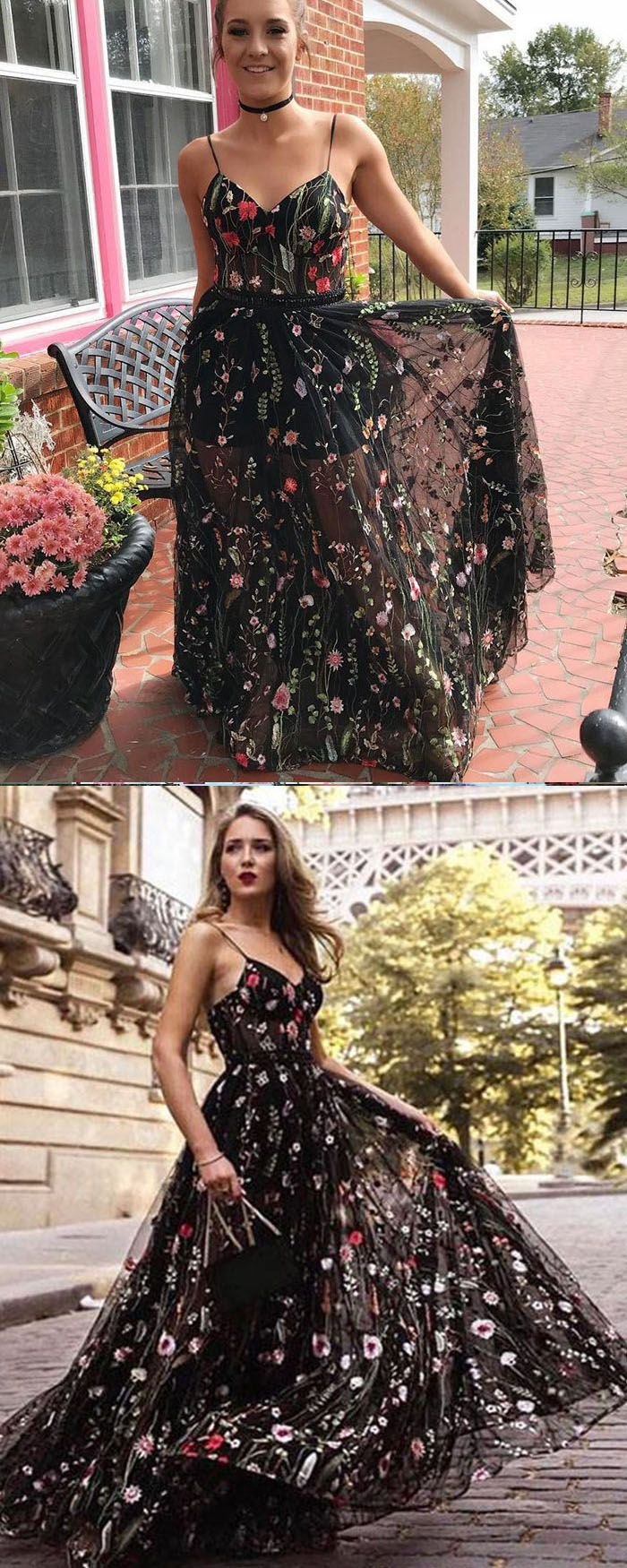 Spaghetti Straps Floral Lace Long Prom Dress PM1398 in 2019  2ae3e0927