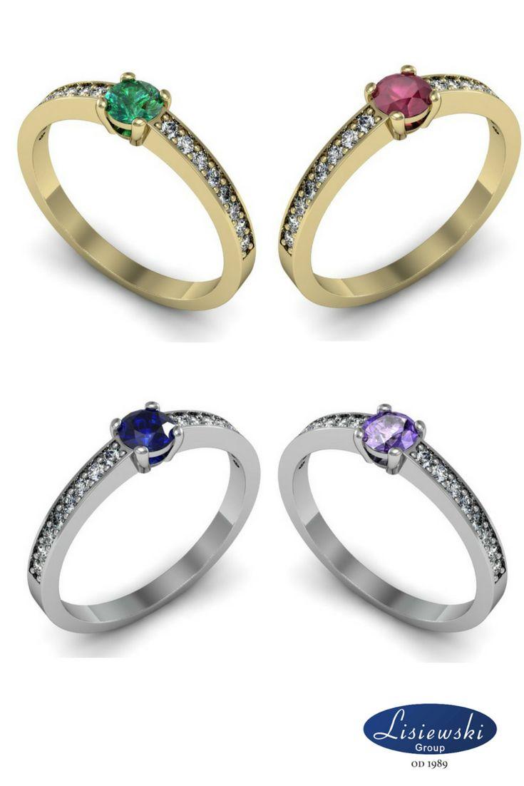 Złoty pierścionek zaręczynowy z kamieniami szlachetnymi. Szafir, szmaragd, tanzanit, rubin. || Gold engagement ring with jewels #engagementring