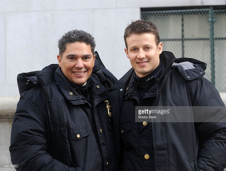 Nicholas Turturro and Will Estes filming on location for 'Blue Bloods' on the streets of Manhattan on March 4, 2011 in New York City.