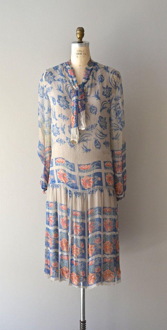 Truelia silk floral dress / vintage 1920s dress / by DearGolden