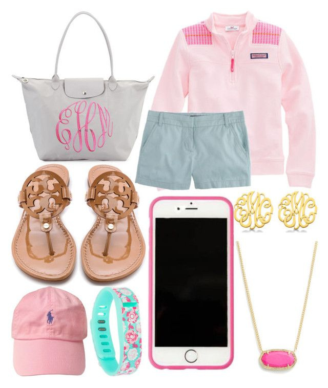 """Preppy"" by jadenriley21 on Polyvore featuring Longchamp, J.Crew, Tory Burch, Lilly Pulitzer, Kendra Scott, Fitbit and Allurez"
