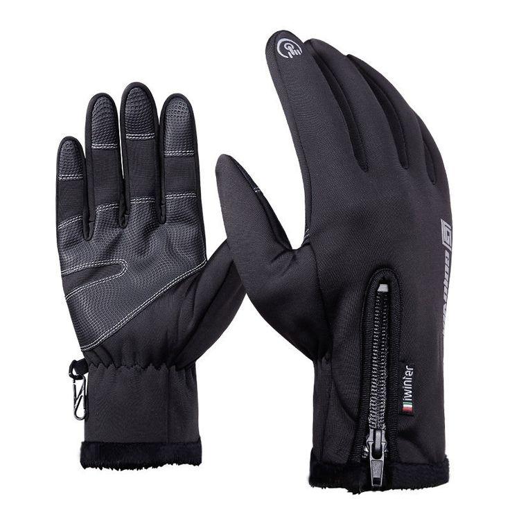 Mens Women Warm Touch Screen Fleece Cycling Gloves Full Finger Windproof Waterproof Ski Gloves