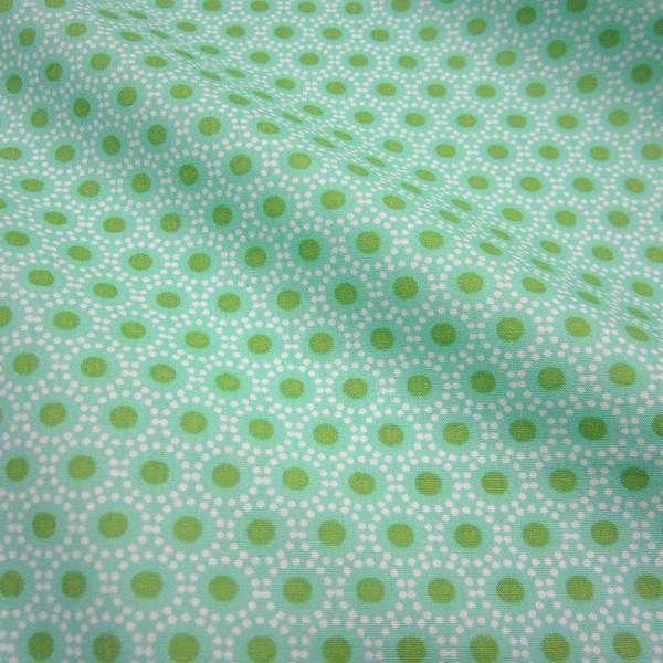 Meterware Baumwolle Punkte mint grün Kreise weiß von Werthers Stoffe auf DaWanda.com