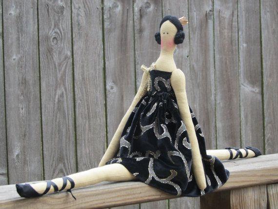 Ballerina doll cloth doll princess black door HappyDollsByLesya