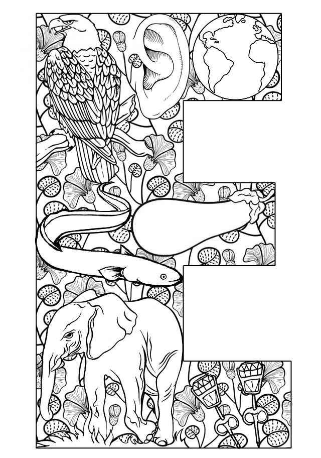 Great full-page coloring picture for every letter of the alphabet. Things that start with the letter E