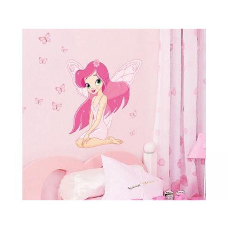 Rózsaszín tündér kislány falmatrica