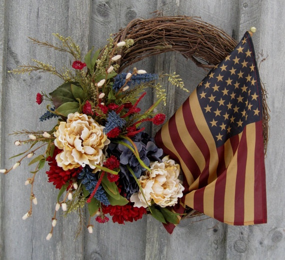 Americana Heritage Classic Floral Wreath with Tea Stained Flag Wreath by NewEnglandWreath